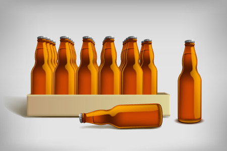 brown bottles: illustration of carton pack of beer brown bottles