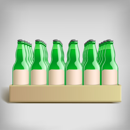 illustration of carton pack of green bottles  with labels