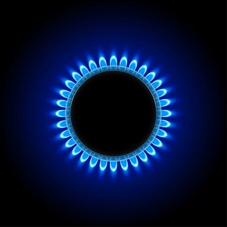 illustration of burner ring with blue flame on black background  イラスト・ベクター素材