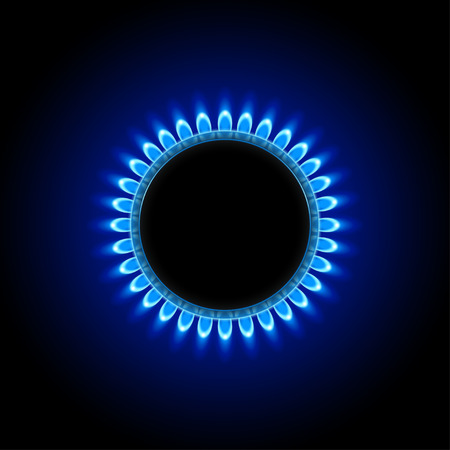 illustration of burner ring with blue flame on black background Vettoriali