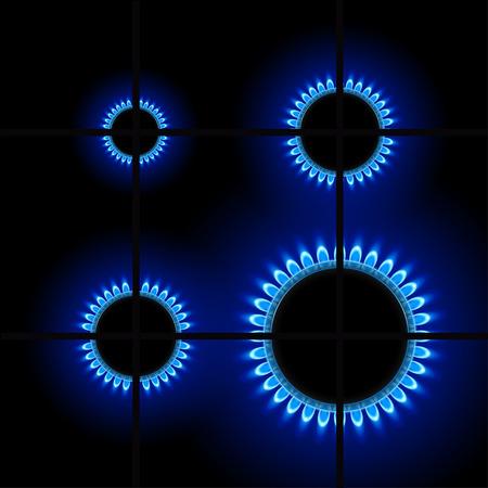青い炎の色で暗い背景に 4 つのバーナー リングのイラスト