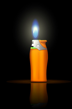 illustration of small gas lighter with flame on dark background Illustration