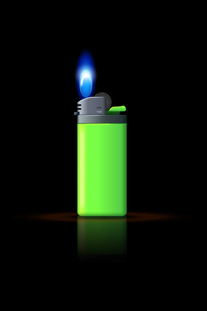 gas lighter: illustration of green gas lighter on black background with flame