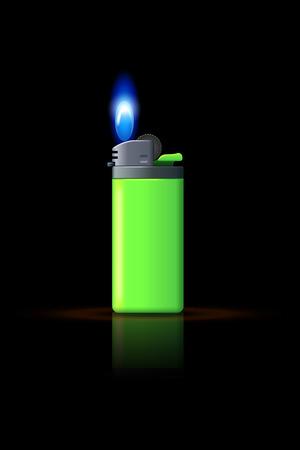 flint: illustration of green gas lighter on black background with flame