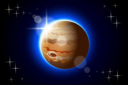 jupiter: illustration of Jupiter one planet of solar system with shine Illustration