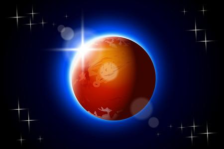 illustation de Mars l'un de l'énergie solaire planète du système dans l'obscurité avec éclat