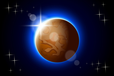 systeme solaire: illustration de Mercure un des solaire plan�te du syst�me avec un �clat dans l'obscurit�