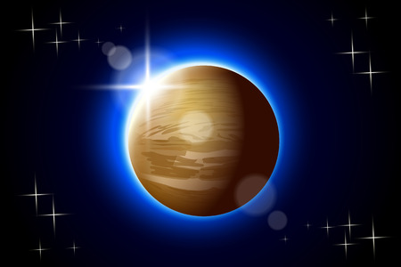 venus: illustration of Venus planet  one of solar system with hotspot Illustration