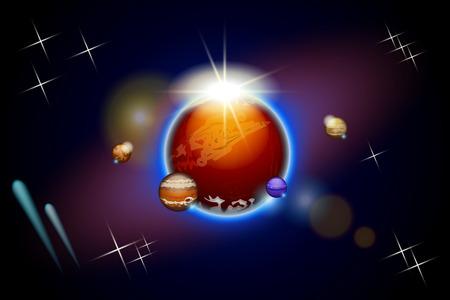 shining light: ilustraci�n de unos planetas en el cielo con luz brillante