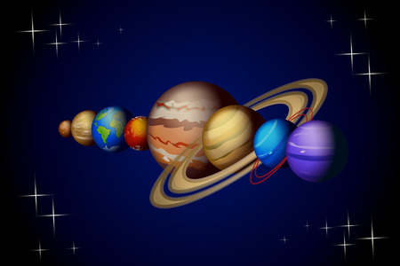 illustration of solar system planets from venus to neptune on dark background