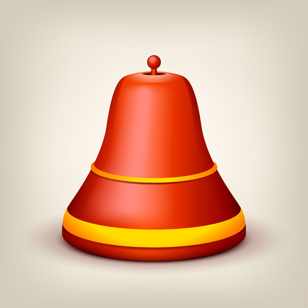 alert ribbon: illustration of red single bell with yellow lines on grey background Illustration