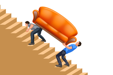men carrying new couch up the stairs on white background Ilustracja
