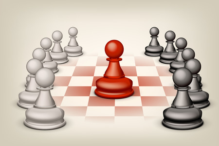 tactical: illustration of two groups white and black pawns and single red pawn Illustration