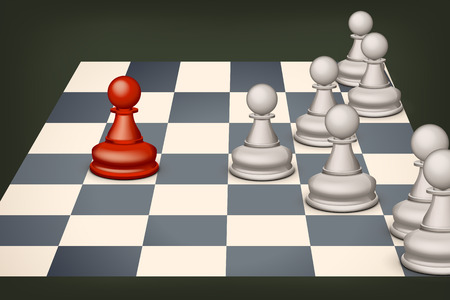 pawn: illustration of red pawn versus white group of pawns