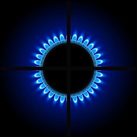 illustration of burner ring with blue flame on dark background Illustration