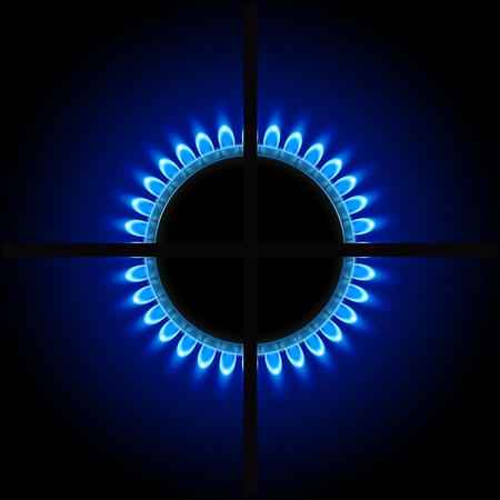 illustration of burner ring with blue flame on dark background Ilustração