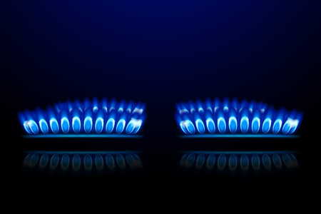 hob: illustration of four burner rings on dark background with flame
