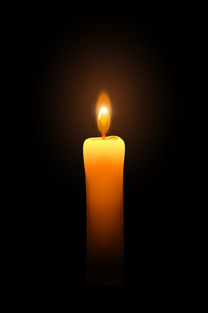 darkness: illustration of single burning little candle in the darkness