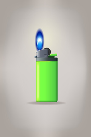 gas lighter: illustration of small gas lighter with flame on greybackground