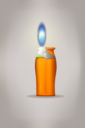 gas lighter: illustration of small gas piezo lighter with flame on grey background