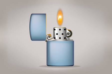 ljusare: illustration of metal oil lighter on grey background with flame