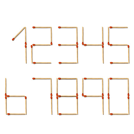 six objects: illustration of numbers maked from matches on white background