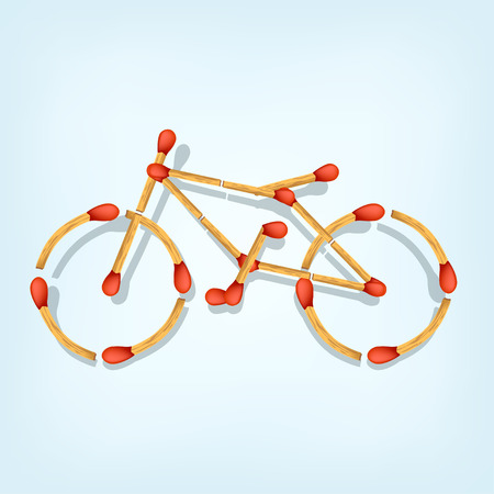 sumbol: illustration of sumbol of bicycle maked from matches on blue background