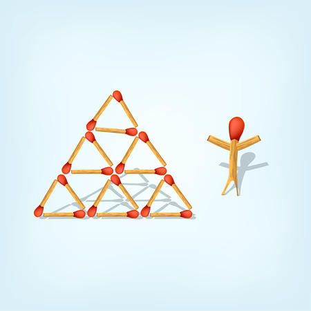 matches: illustration of constructed pyramid from matches by one guy