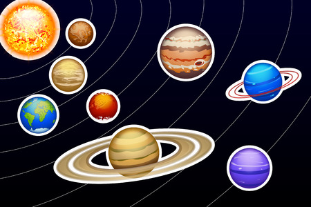 illustration of solar system with orbit lines to each planet stroked Vector