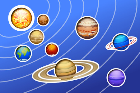 drawed: illustration of drawed solar system with lines on blue background Illustration