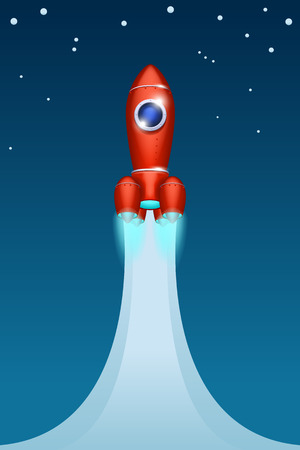 illustration of flying up red spaceship with clouds on blue background