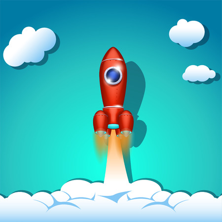 spaceship: illustration of flying red spaceship into the sky Illustration