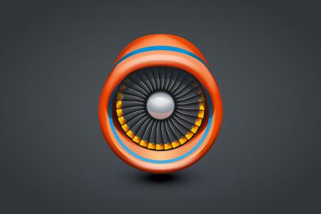 illustation: illustation of red turbine type of engine