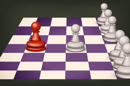pawns: illustration of chess on violet field with some pawns