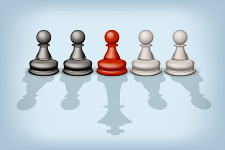 tactical: illustration of line of pawns with different types of shadows