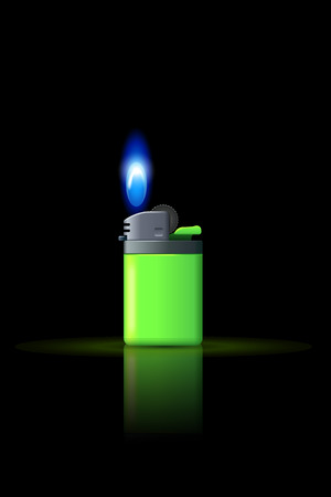 gas lighter: illustration of small gas lighter with flame on dark background Illustration