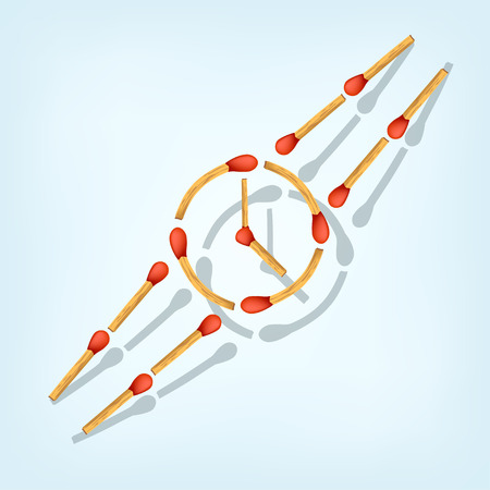 matches: illustration of symbol of hand watch maked from matches