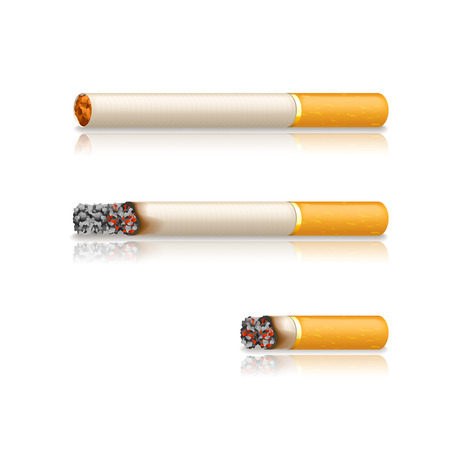 toxic product: illustration of three condition of cigarette with reflection on white background