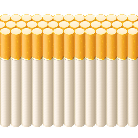 tobacco product: illustration of line of cigarettes on white background