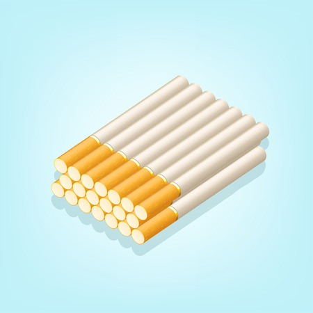 tobacco product: illustration of group of cigarettes on blue background