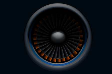 force of the wind: illustration of airplane turbine in the darkness