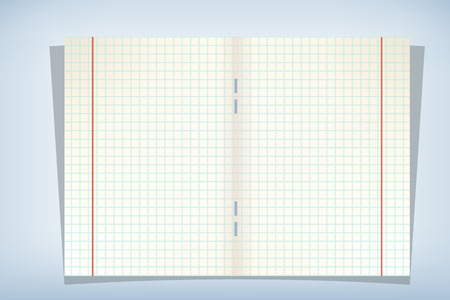 illustration of opened copybook with cell paper and two red lines