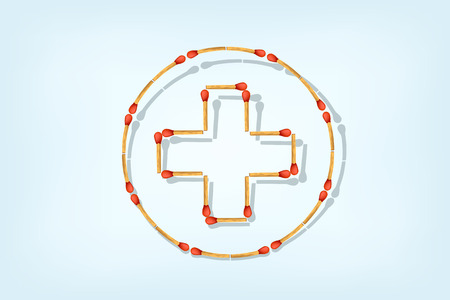 cross match: illustration of red cross maked from matches on blue blackground