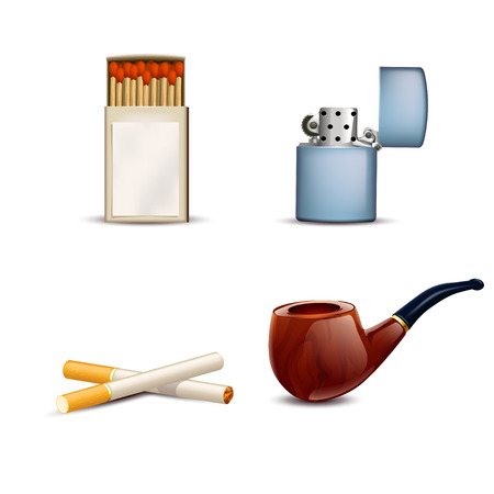 pipe smoking: Illustration von Rauchen Zeug Satz Rohrs, leichter, Streichh�lzer, Zigaretten auf wei�em Hintergrund Illustration