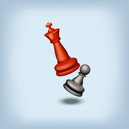 pawn to king: red king beats black pawn on blue background