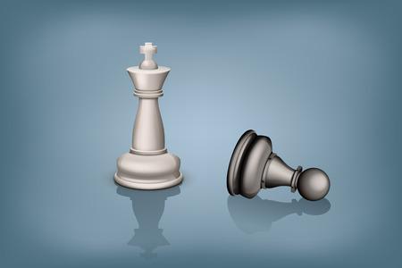 pawn to king: illustration of standing white king and beaten black pawn
