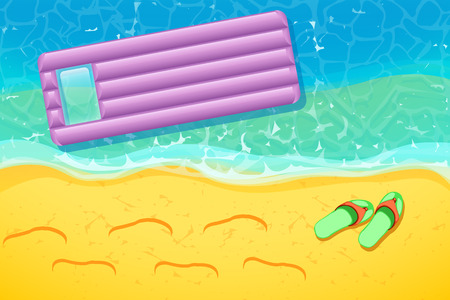 matress: illustration of floating matress in the sea near beach