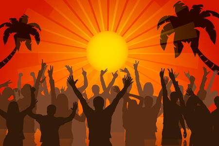 illustration of party on beach at sunset with a lot of people