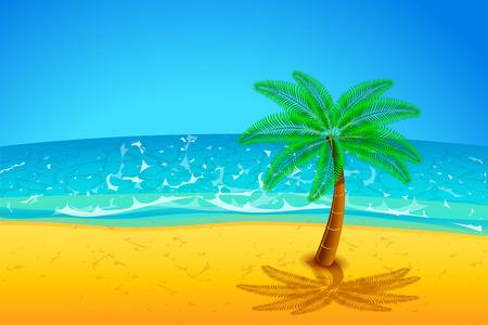 illustration of single plam tree on the beach with sea