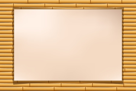 bamboo frame: illustration of paper with shadow at the bamboo background